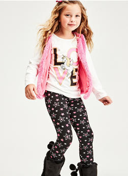 Girls 7-16 Love Unicorn Top with Leggings and Vest - 1608048370042
