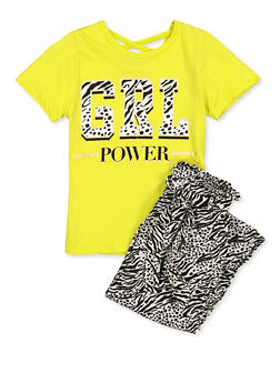Girls 7-16 Grl Power Top with Zebra Print Pants - 1608048370049
