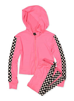 Girls 7-16 Checkered Trim Hooded Top and Leggings Set - 1608051060004