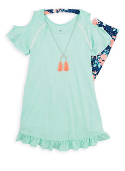 Girls 7-16 Ruffle Cold Shoulder Tunic Top and Printed Leggings - 1608061950073