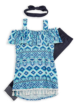 Girls 7-16 Printed Off the Shoulder Top with Denim Knit Leggings and Headband - 1608061950078