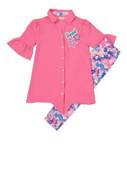 Girls 7-16 Crepe Knit Shirt and Leggings Set - 1608061950105