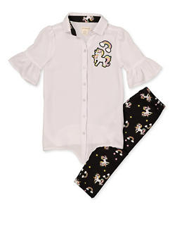 Girls 7-16 Unicorn Embroidered Shirt with Leggings - 1608061950106