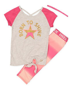 Girls 7-16 Born to Shine Top with Active Leggings and Headband - 1608061950116