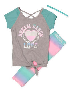 Girls 7-16 Dream Dance Love Activewear Tee with Leggings and Headband - 1608061950117