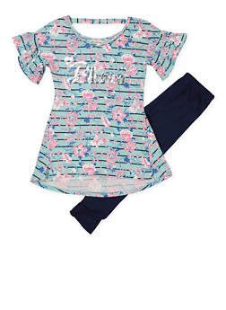 Girls 7-16 Striped Floral Top with Leggings - 1608061950121