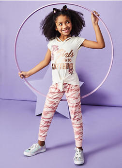 Girls 7-16 Foil Graphic Top and Camo Joggers Set - 1608061950123