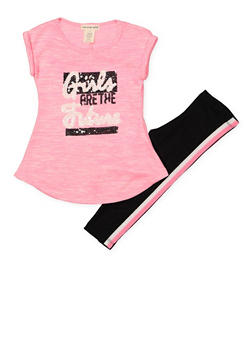 Girls 7-16 Sequin Graphic Top and Leggings Set - 1608061950130