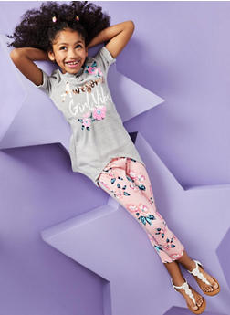 Girls 7-16 Graphic Tee with Leggings and Headband - 1608061950132