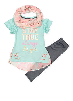 Girls 7-16 Stay True Tee with Denim Knit Leggings and Scarf - 1608061950133