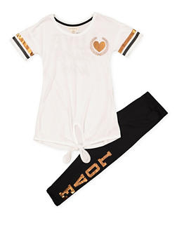 Girls 7-16 Tie Front Graphic Tee and Leggings Set - 1608061950140