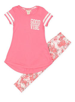 Girls 7-16 Good Vibe Tunic Top with Leggings - 1608061950142