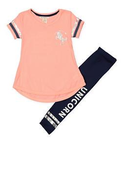 Girls 7-16 Unicorn Tunic Top and Leggings Set - 1608061950143
