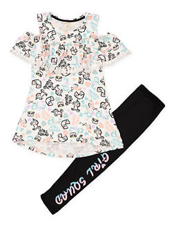 Girls 7-16 Girl Squad Graphic Top and Leggings Set - 1608061950144
