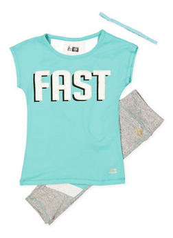 Girls 7-16 Fast Graphic Top with Active Leggings and Headband - 1608061950154