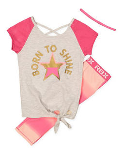 Girls 7-16 Tie Front Graphic Top with Active Leggings and Headband - 1608061950157
