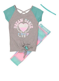 Girls 7-16 Dream Graphic Top with Active Leggings and Headband - 1608061950158