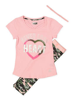 Girls 7-16 Graphic Tee with Active Leggings and Headband - Pink - Size 8 - 1608061950159