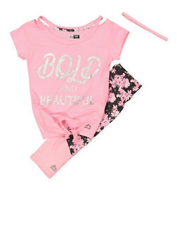 Girls 7-16 Graphic Top with Activewear Leggings and Headband - 1608061950161
