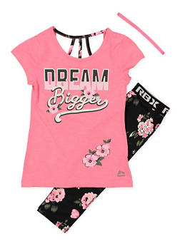 Girls 7-16 Dream Tee with Active Leggings and Headband - 1608061950163