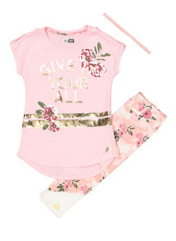 Girls 7-16 Foil Graphic Tee with Active Leggings and Headband - Pink - Size 8 - 1608061950167