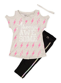 Girls 7-16 Always Awesome Activewear Tee with Leggings and Headband - 1608061950169
