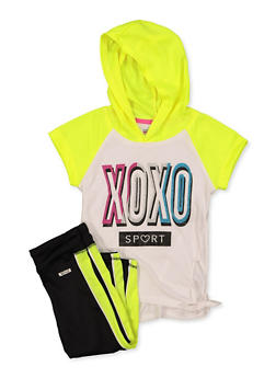 Girls 7-16 XOXO Glitter Graphic Hooded Top with Leggings - 1608061950180