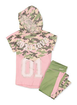 Girls 7-16 Camo Color Block Hooded Top with Leggings - 1608061950182