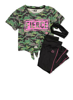 Girls 7-16 Fierce Camo Top with Leggings and Head Wrap - 1608061950185