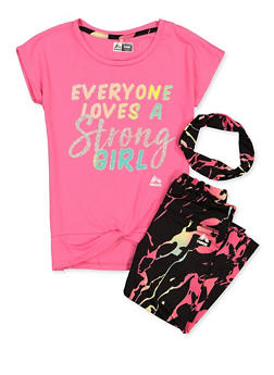 Girls 7-16 Glitter Graphic Tee with Leggings and Head Wrap - 1608061950186