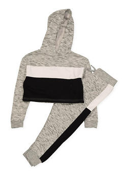 Girls 7-16 Color Block Sweatshirt and Joggers Set | Black - 1608063400035
