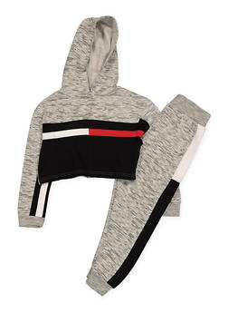Girls 7-16 Marled Color Block Cropped Sweatshirt and Joggers Set - 1608063400036