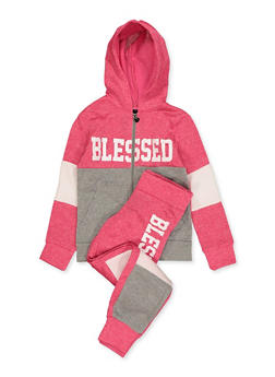 Girls 7-16 Blessed Color Block Sweatshirt and Joggers - 1608063400040
