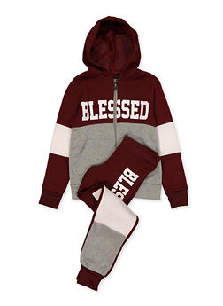 Girls 7-16 Blessed Graphic Sweatshirt and Joggers - 1608063400042