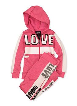 Girls 7-16 Love Zip Sweatshirt with Joggers - 1608063400045