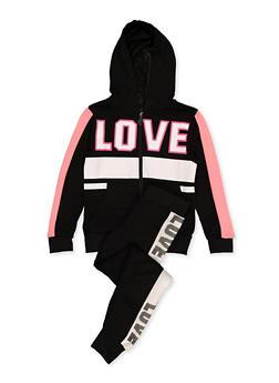 Girls 7-16 Love Graphic Zip Sweatshirt and Joggers - 1608063400047