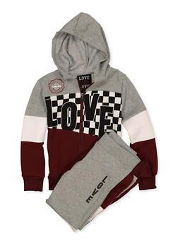 Girls 7-16 Zip Love Sweatshirt and Joggers - 1608063400050