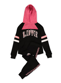 Girls 7-16 Love Pullover Sweatshirt and Joggers Set - 1608063400054