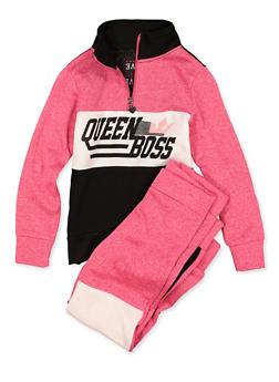 Girls 7-16 Queen Boss Sweatshirt and Joggers | 1608063400060 - 1608063400060