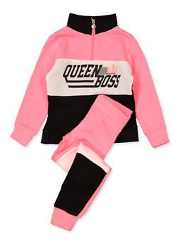 Girls 7-16 Queen Boss Sweatshirt and Joggers - 1608063400062