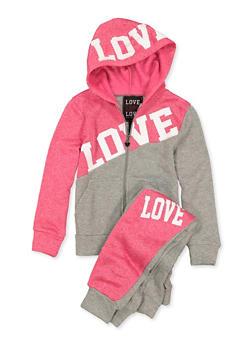 Girls 7-16 Zip Front Love Sweatshirt and Joggers - 1608063400063