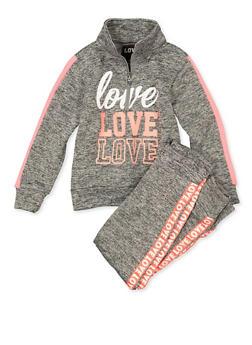 Girls 7-16 Zip Neck Love Sweatshirt and Joggers - 1608063400065