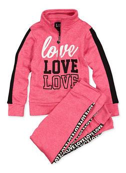Girls 7-16 Love Graphic Zip Neck Sweatshirt and Joggers - 1608063400066