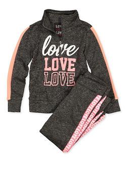 Girls 7-16 Love Half Zip Sweatshirt and Joggers - 1608063400067