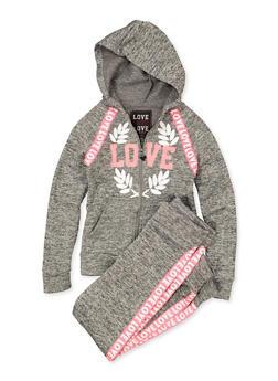Girls 7-16 Love Zip Front Sweatshirt and Joggers | 1608063400068 - 1608063400068