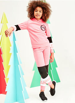 Girls 7-16 Color Block Love Pullover Sweatshirt and Joggers - 1608063400072