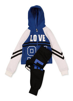 Girls 7-16 Color Block Love 94 Sweatshirt with Joggers - 1608063400076
