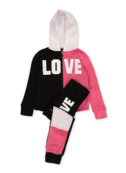 Girls 7-16 Love Zip Up Sweatshirt with Joggers - 1608063400080