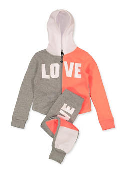 Girls 7-16 Color Block Love Sweatshirt and Joggers Set - 1608063400081