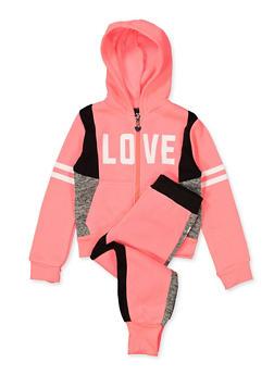 Girls 7-16 Love Color Block Zip Sweatshirt with Joggers - 1608063400082